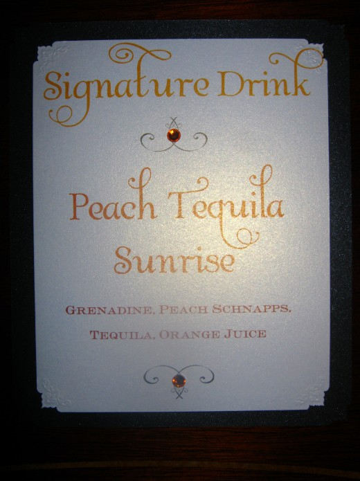 Metallic Cardstock Signature drink Menu Card for weddings and events