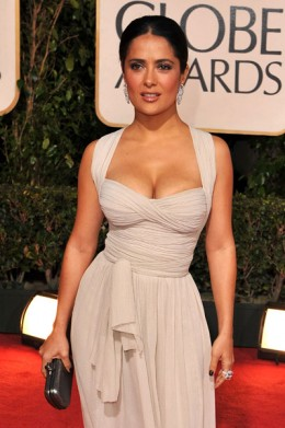 "Salma Hayek (5'2"") looks stunning in this empire waisted dress"