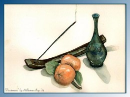 """Watercolor """"Persimmons""""  - by Nellieanna H. Hay"""