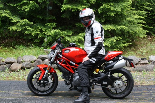 Me on my Ducati after a run. Full apparel like this is the smart way to go when riding motorcycles. My riding gloves are sitting on the gas tank. When riding I always wear all this protective clothing