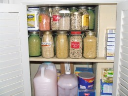 The stereo system has been long gone.  I filled the closet with dry goods stored in glass jars.  Also keep canning supplies and homemade liquid soap there also.