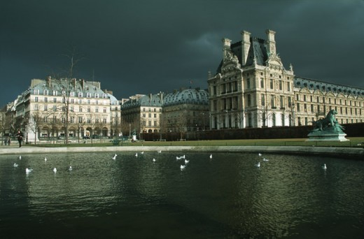 Louvre Paris in evening