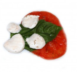 One layer of a Caprese Salad