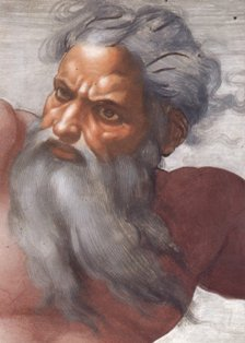 Creation Of The Sun And Moon by Michelangelo, Face Detail Of God