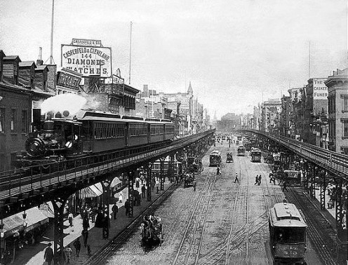 The Bowery of New York City in 1896