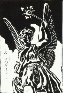 Original linocut I created inspired by one of these grave markers in Schulenburg.