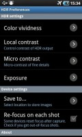 HDR Camera Settings page