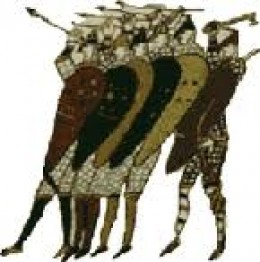 Shield wall shown in the Bayeux Tapestry