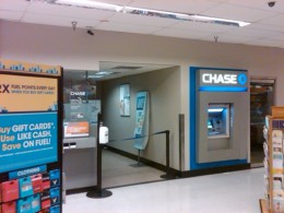 Chase Bank mini-branch office and ATM machine inside a Fry's Supermarket in Casas Adobes, Arizona
