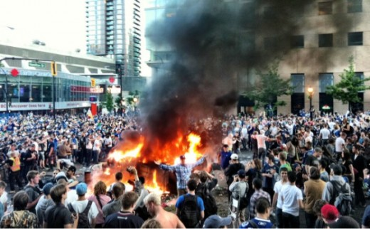 This scene was typical of the post Stanley Cup game loss when fans encouraged by anarchists and initially ignored by the police, exploded into a collective rage.