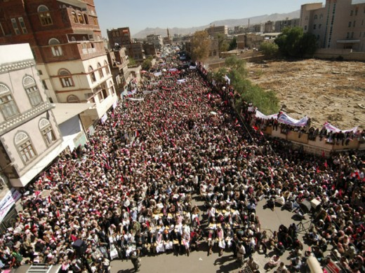 Meanwhile, half a world away on the same day, hundreds of thousands protested in Yemen for President Ali Abdullah Saleh to step down and leave the country according to the demands of Islamist leaders.