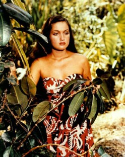 "Luscious Dorothy Lamour in a still from ""Hurricane""."