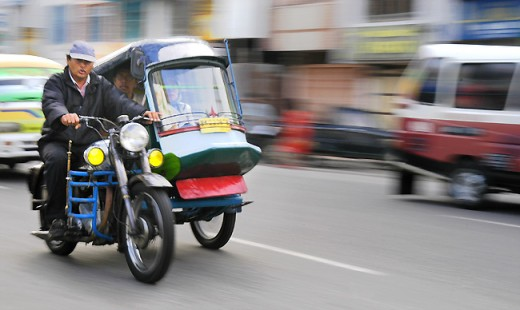 Machine pedicab looking for passenger in Siantar City, North Sumatra Province, Indonesia.
