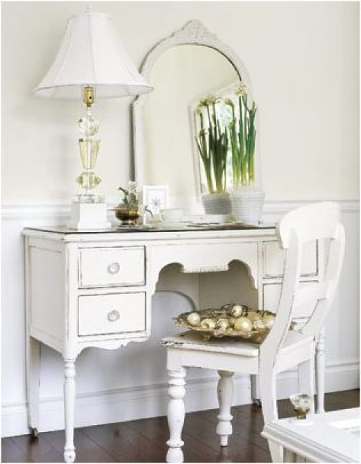 White Old Dresser and Chair