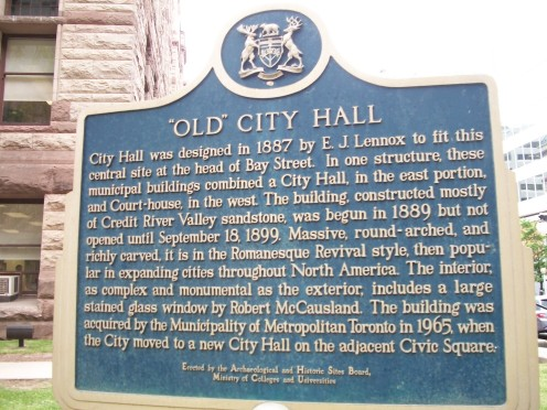 Historical plaque, Old City Hall, Toronto, Ontario