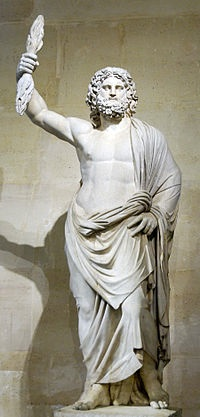 "Zeus, ""Father of Gods and men"" God of sky and thunder in Greek mythology. His Roman counterpart was Jupiter."