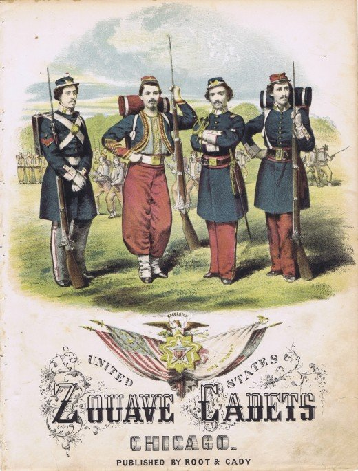 Cover for Zouave Cadets Quickstep by A. J. Vaas. Ellsworth is second from the right, with folded arms.