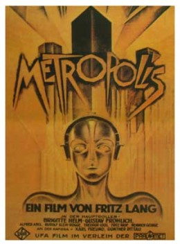 """an image of the original posters to promote the 1927 german silent film """"Metropolis."""""""
