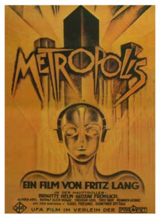 "an image of the original posters to promote the 1927 german silent film ""Metropolis."""
