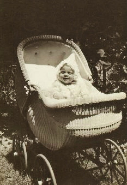Baby Carol in her carriage