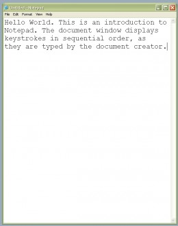 Keystrokes entered into a Notepad document