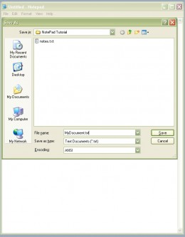 An example of the Save As dialog box after a file name has been provided by the program user.