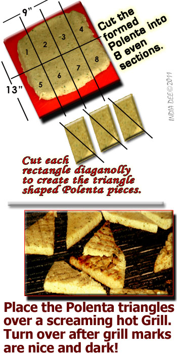Cutting the chilled and formed Polenta into triangle shapes is easy. Just follow these simple tips for Grilled Polenta!