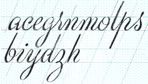 A more refined sketch of grid paper of some lowercase script letters.