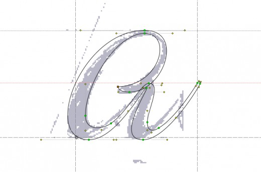 See the sketch in light purple, and the traced line in black. Bezier points in red and green.