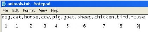 Numbered Animals Text File