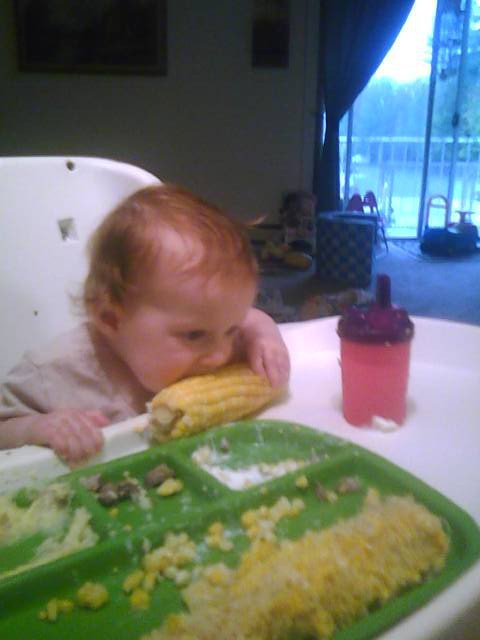 This niece of mine does not have any problem with food!!