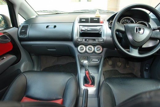 Honda City Enhanced Dashboard and Black and Red color leather seats