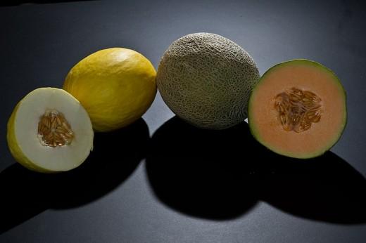 Cantaloupe and canary melons