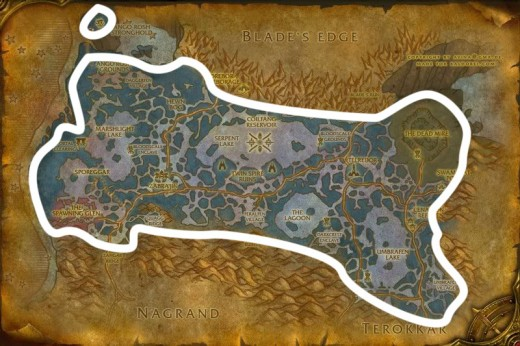 Fel iron ore mining route in Zangarmarsh