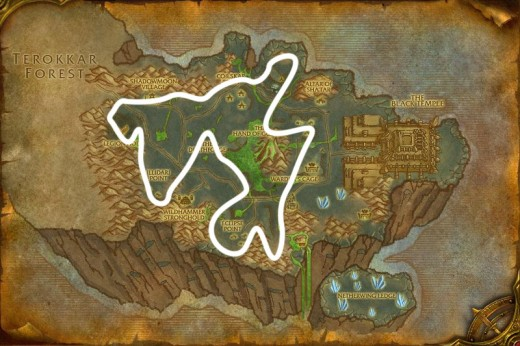 Fel iron ore mining route in Shadowmoon Valley