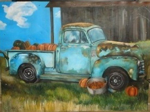 Nikki loves paintings of automobiles, especially old trucks.  This one is  acrylic on sheet metal.