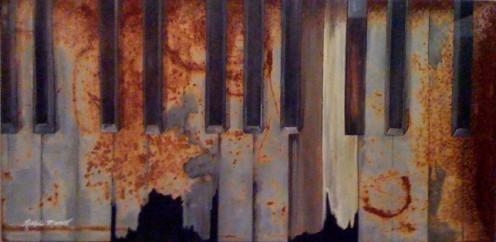 """Keys"" - Acrylic on a rusted metal shelf."