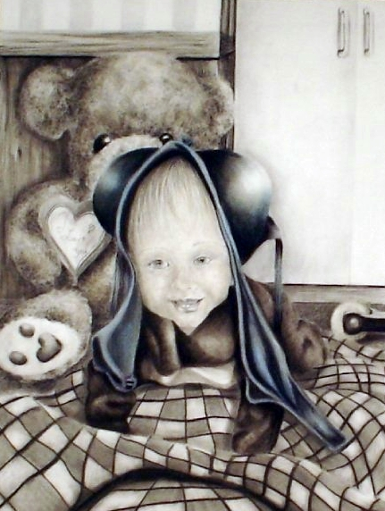 """TittieBaby""  - charcoal, pencil, pastel on paper. Nikki's son Pate wearing her bra on his head."