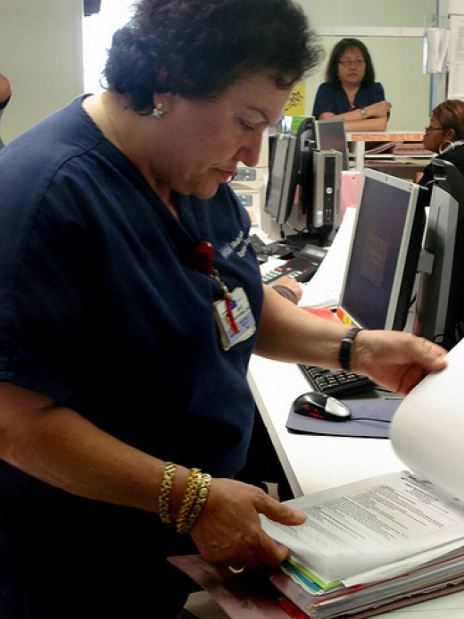 Registered nurses keep patient records.
