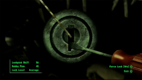 You picking a lock in Fallout 3, not your character.