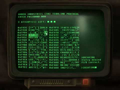 you hacking a computer in the DC wasteland.