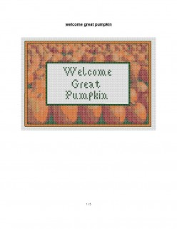 Halloween cross stitch pattern Great Pumpkin saying