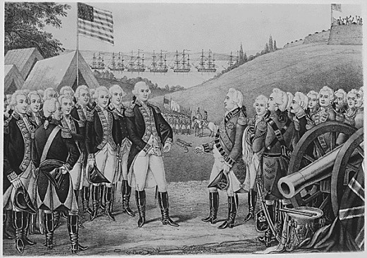 Surrender of Cornwallis at Yorktown, Virginia, October 19, 1781, by which over 7,000 British and Hessians became prisoners. Copy of lithograph by James Baillie, circa 1845., 1931 - 1932