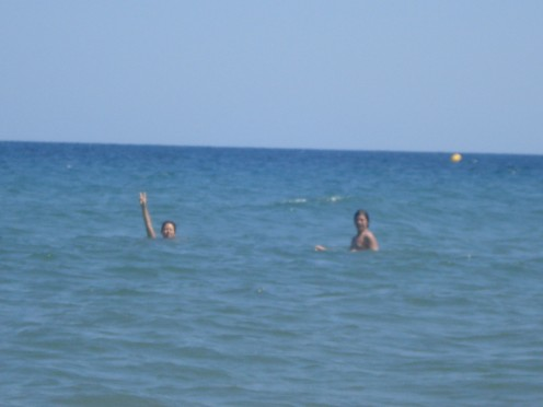 swimming in Moriani Beach, Corsica