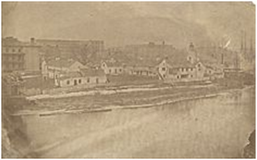 An original drawing of the first fort on the site of the Fort Dearborn Massacre.