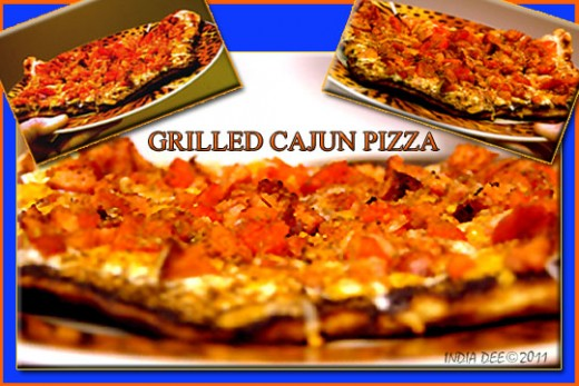 My Canjun Grilled Pizza came out bright, smokey and spicy!  And the free-form shape of the pizza dough was beautiful to look at!
