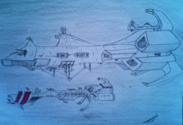 The Hellfire and an early Earth heavy battle ship sketch
