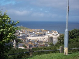 View from St. Ives Leisure Center looking down on bay