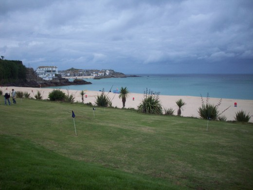 Putting green runs along far end of Porthminster bay