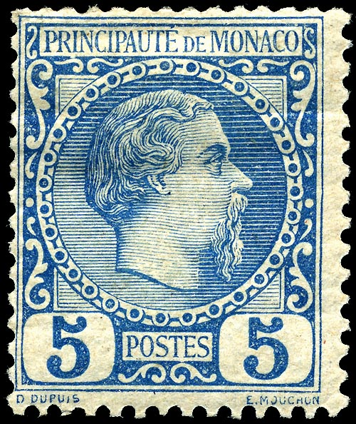 Monaco stamp representing Charles III. 5 centimes, blue edition, from the first series issued at Monaco to replace French stamps. Designed by O. Dupuis and engraved by Louis-E. Mouchon.